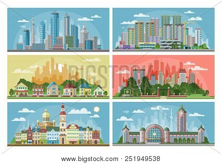poster of Cityscape Vector City Landscape With Urban Architecture Building Or Construction And Houses In The T