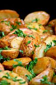 Young baked potatoes with parsley