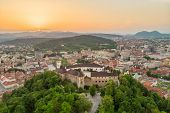 Aerial Panorama Of The Slovenian Capital Ljubljana At Sunset. poster