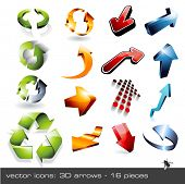 vector icon set: 3d arrows - 16 pieces ... and a fly