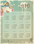 whimsical collage calendar for 2010 with lots of retro design elements