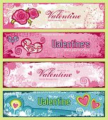 image of san valentine  - set of four cute grungy valentine - JPG