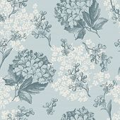 picture of forget me not  - retro floral pattern with viburnum flowers and forget - JPG