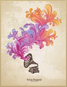 retro music concept with vintage phonograph and colorful handdrawn swirls