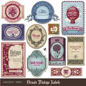 stock photo of art nouveau  - set of decorative vintage labels - JPG