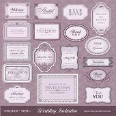 Set of ornate vector frames and ornaments with sample text. Perfect for classical invitation or anno