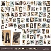 vector set: alphabet based on vintage newspaper cutouts - ideal for your threatening letters, ransom