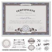 stock photo of certificate  - certificate or coupon template with detailed border and additional design elements  - JPG