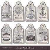 picture of shell-fishes  - grungy nautical tags  - JPG