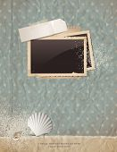 summer scrap background with old paper, photoframe, shells and sand - perfect for your holiday layou