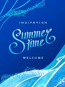 Background Illustration Of Drawn Invitation With Calligraphic Text Summer Time And Hand Drawn Ocean  poster