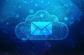 Information Cloud Spam, Email Spam Background, Cloud With Email Symbol On Digital Background poster