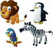 vector animals set 8: lion, penguin, parrot and zebra