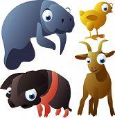 vector animal set 96: manatee, chicken, pig, goat