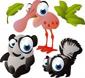 vector animal set 110: panda, skunk, spoonbill