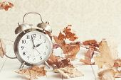 Faded Alarm Clock In Colorful Autumn Leaves Against A Retro Background With Shallow Depth Of Field.  poster