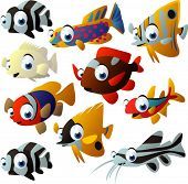 picture of cartoon character  - NEW extra big vector fish set - JPG