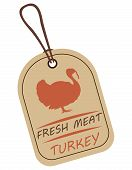 String Tag, Meat Label. Label With Illustration Of Turkey. Price List For Turkey Meat. Meat Tag With poster
