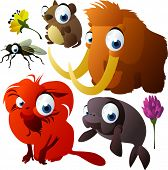vector animals: vole, fly, mammoth, tamarin, sea cow