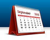 Vector illustration of a 2010 desk calendar showing the month September