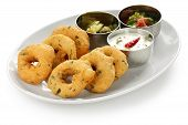 stock photo of urad  - vada is donut, made with urad dal flour, indian snack food