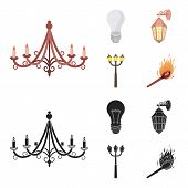Led Light, Street Lamp, Match.light Source Set Collection Icons In Cartoon, Black Style Vector Symbo poster
