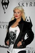 LOS ANGELES - NOV 8:  Christina Aguilera arrives at the SKYRIM Launch Event at Belasco Theater on November 8, 2011 in Los Angeles, CA