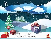 Christmas gift card with night landscape