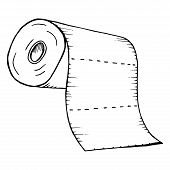 Roll Of Toilet Paper. Roll Of Paper Towels. Vector Of Toilet Paper, Paper Towels. Hand Drawn Toilet  poster