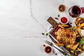 Christmas, Thanksgiving Food, Baked Roasted Chicken With Cranberry And Herbs, Served With Fried Vege poster