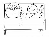 Cartoon Stick Drawing Conceptual Illustration Of Couple In Bed. Man Wants Sexual Intercourse, Woman  poster