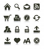 Internet Web icons with reflections. Black & white series