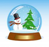 Christmas snow globe with snowman and christmas tree inside.