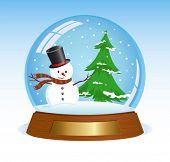Christmas snow globe with snowman and christmas tree inside.