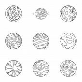 Galaxy Planet Icons Set. Outline Set Of 9 Galaxy Planet Vector Icons For Web Isolated On White Backg poster
