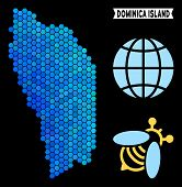 Постер, плакат: Hexagon Blue Dominica Island Map Geographic Map In Blue Color Tones On A Black Background Vector P