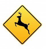 Deer Crossing - Vector Road Sign Icon
