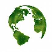 Globe illustration covered with realistic grass. An Eco Friendly Concept