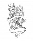 Bald American Eagle Emblem - lineart illustration