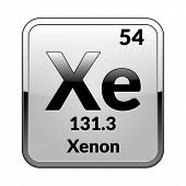 Xenon Symbol.chemical Element Of The Periodic Table On A Glossy White Background In A Silver Frame.v poster
