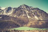 Beautiful Panoramic View At Kucherla Mountain Lake And Mountain Range. Belukha National Park, Altai  poster