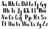 Handwritten Brush Pen Letters. Black Vector Alphabet On White Background. Brush Pen Script Isolated. poster