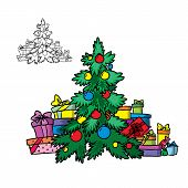 Christmas tree with garlands and gifts