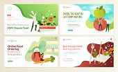Set Of Web Page Design Templates For Organic Food And Drink, Natural Products, Restaurant, Online Fo poster