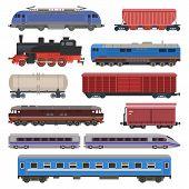 Train Vector Railway Transport Locomotive Or Wagon And Subway Or Metro Transportation Illustration S poster