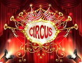 Vector Background With Circus Signboard Illuminated With Spotlights And Red Curtains, Golden Trumpet poster