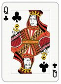 Queen of club playing card