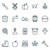 Gardening Icons Set With Windmill, Gardener Tool, Leaf And Other Mill Elements. Isolated  Illustrati poster