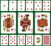Diamond suit. Jack, Queen and King double sized. Green background in a separate level.