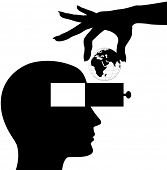 Hand puts globe into head open mind drawer of silhouette man